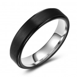 Chic Black Two-Tone Tungsten Ring Band - Wedding - 5mm - Fashion - Brushed Finish - Men's - Unisex - Engravable - Flat