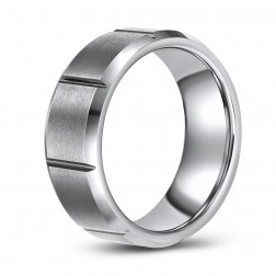 Visually Interesting Tungsten Wedding or Fashion Band