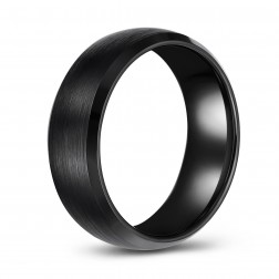 Domed Brushed Black Tungsten Wedding or Fashion Band