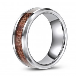 Tungsten Wedding or Fashion Band with Wood Grain Inlay