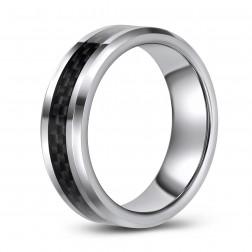 Grey Carbon Fiber Inlaid Tungsten Wedding or Fashion Band
