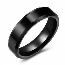 Chic Black Tungsten Ring Band - 6mm - Wedding - Fashion - Men's - Unisex  - Engravable - Flat