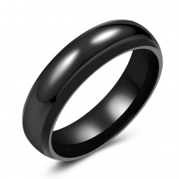 Trendy Black Tungsten Ring Band - 6mm - Wedding - Fashion - Men's - Unisex - Engravable - Domed