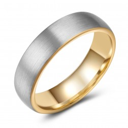 Stylish Two-Toned Brushed Tungsten Ring Band - 6mm - Wedding - Fashion - Men's - Unisex - Engravable - Domed