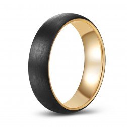 Trendy Brushed Black-Gold Two-Toned Tungsten Ring Band - 6mm - Wedding - Fashion - Men's - Unisex - Engravable - Domed