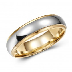 Classy Two Toned High-Polish Tungsten Ring Band - 6mm - Wedding - Fashion - Men's - Unisex - Engravable - Domed