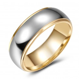Beautiful Two Toned High-Polish Tungsten Ring Band - 6mm - Wedding - Fashion - Men's - Unisex - Engravable - Domed