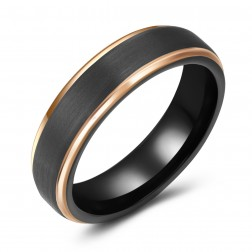 Trendy Brushed Black-Gold Two-Toned Tungsten Ring Band - 6mm - Wedding - Fashion - Men's - Unisex - Engravable - Flat