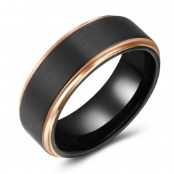 Modern Brushed Black-Gold Two-Toned Tungsten Ring Band - 8mm - Wedding - Fashion - Men's - Unisex - Engravable - Domed