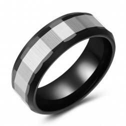 Edgy Black-Silver Two-Toned Tungsten Ring Band - 8mm - Wedding - Fashion - Men's - Unisex - Engravable - Faceted
