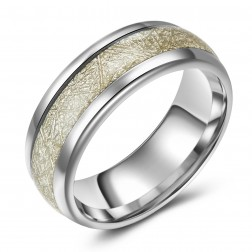 Unique Tree Bark Inlaid Tungsten Ring Band - 8mm - Wedding - Fashion - Men's - Unisex - Engravable - Domed