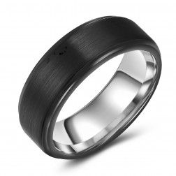 Brushed Black-Silver Two-Toned Tungsten Ring Band - 8mm - Wedding - Fashion - Men's - Unisex - Engravable - Flat