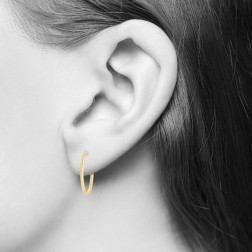 Yellow Gold Sleeper Hoop Earrings - 9.83mm (.39in) Diameter