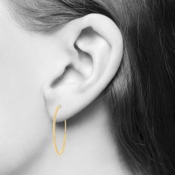 Yellow Gold Sleeper Hoop Earrings - 16.8mm (.66in) Diameter