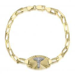 Ladies 10K Diamond Cut Medical Bracelet