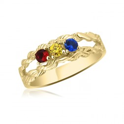 10K Yellow Gold Intricate Ring – 3 Birthstone Family Ring