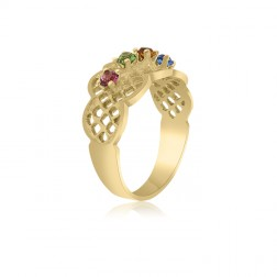 10K Yellow Gold Lattice Ring – 3 Birthstone Family Ring