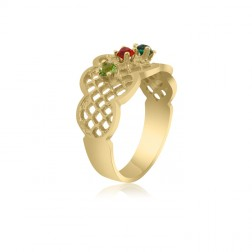 10K Yellow Gold Lattice Ring – 4 Birthstone Family Ring