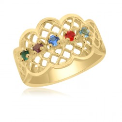 10K Yellow Gold Lattice Ring – 5 Birthstone Family Ring