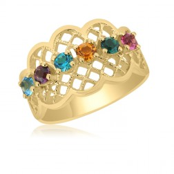 10K Yellow Gold Lattice Ring – 6 Birthstone Family Ring