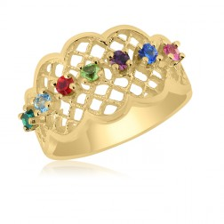 10K Yellow Gold Lattice Ring – 7 Birthstone Family Ring