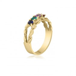 10K Yellow Gold Intricate Ring – 4 Birthstone Family Ring