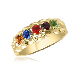 10K Yellow Gold Intricate Ring – 5 Birthstone Family Ring