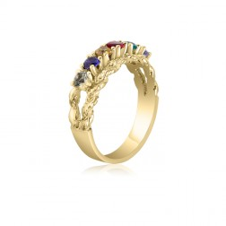 10K Yellow Gold Intricate Ring – 6 Birthstone Family Ring