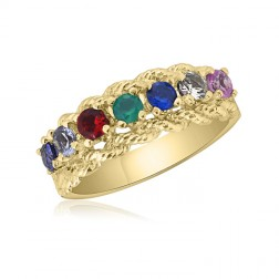 10K Yellow Gold Intricate Ring – 7 Birthstone Family Ring