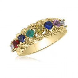 10K Yellow Gold Intricate  Ring – 8 Birthstone Family Ring