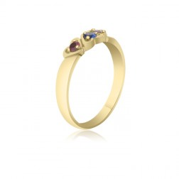 10K Yellow Gold Interlocking Hearts – 3 Birthstone Family Ring