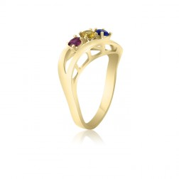 10K Yellow Gold Sweeping Leaf Ring – 3 Birthstone Family Ring