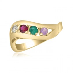 10K Yellow Gold Sweeping Leaf Ring – 4 Birthstone Family Ring
