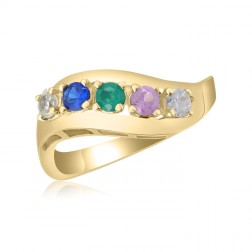 10K Yellow Gold Sweeping Leaf Ring – 5 Birthstone Family Ring