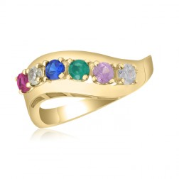 10K Yellow Gold Sweeping Leaf Ring – 6 Birthstone Family Ring