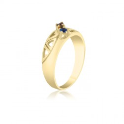 10K Yellow Gold Heart Ring –  3 Birthstone Family Ring