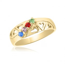 10K Yellow Gold Heart Ring –  4 Birthstone Family Ring