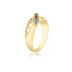 10K Yellow Gold Heart Ring –  6 Birthstone Family Ring