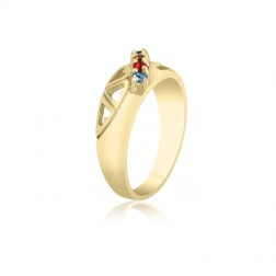 10K Yellow Gold Heart Ring –  5 Birthstone Family Ring