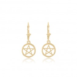 10K Yellow Gold Pentacle Earrings
