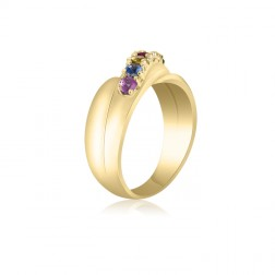 10K Yellow Gold Crossover Ring - 6 Birthstone Family Ring