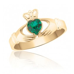 10K Yellow Gold Emerald Green Claddagh Ring