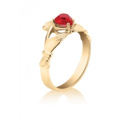 10K Yellow Gold Claddagh Ring with Red Heart Stone