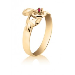 Ruby set Claddagh Ring in 10K Yellow Gold
