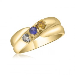 10K Yellow Gold Crossover Ring - 3 Birthstone Family Ring