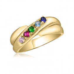 10K Yellow Gold Crossover Ring - 5 Birthstone Family Ring