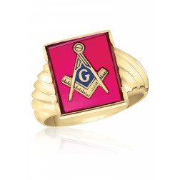 Rectangle Red Spinel Masonic Fraternity Ring in 10K Yellow Gold