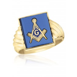 Rectangle Blue Spinel Masonic Fraternity Ring in 10K yellow Gold