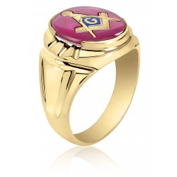 Red Spinel Masonic Fraternity Ring in 10K Yellow Gold
