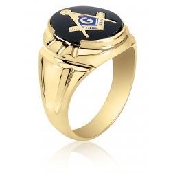 Black Onyx Masonic Fraternity Ring in 10K Yellow Gold